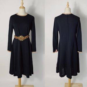 VINTAGE 60s Anjac Wool Knit Long Sleeve Dress